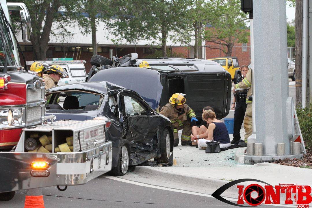 Overturned SUV in Largo leaves only minor injuries