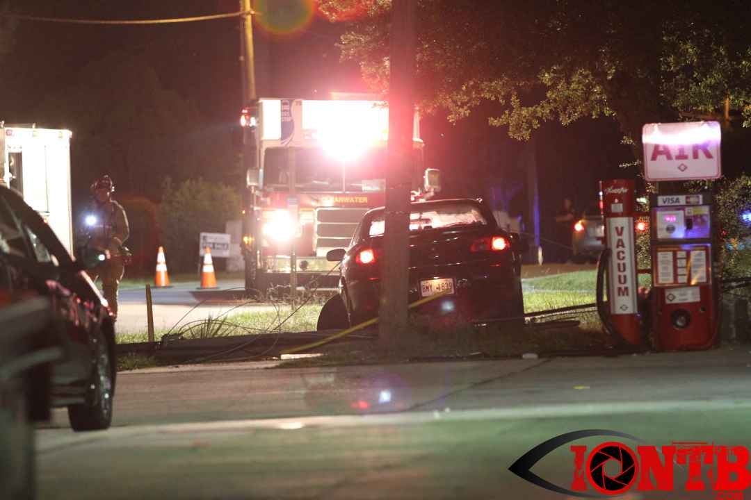 Single vehicle crash downs power lines in Clearwater