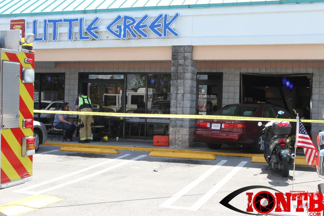 Vehicle crashes into Little Greek Restaurant at Bardmoor Promenade