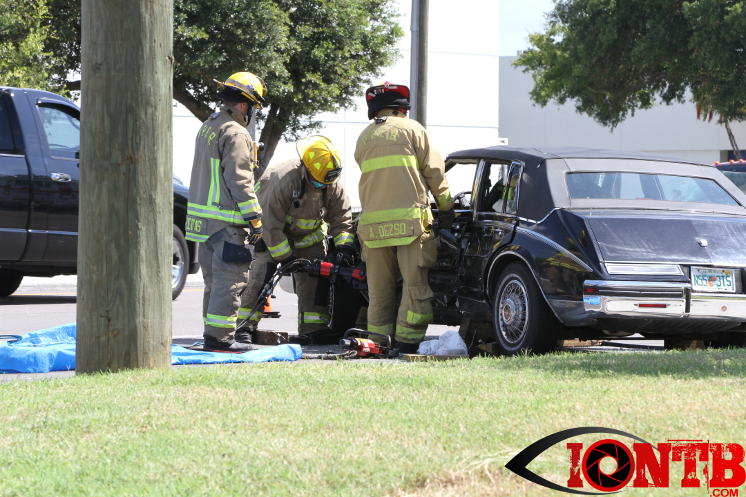 Pinellas Park Fire Department working a vehicle crash on Bryan Dairy Road