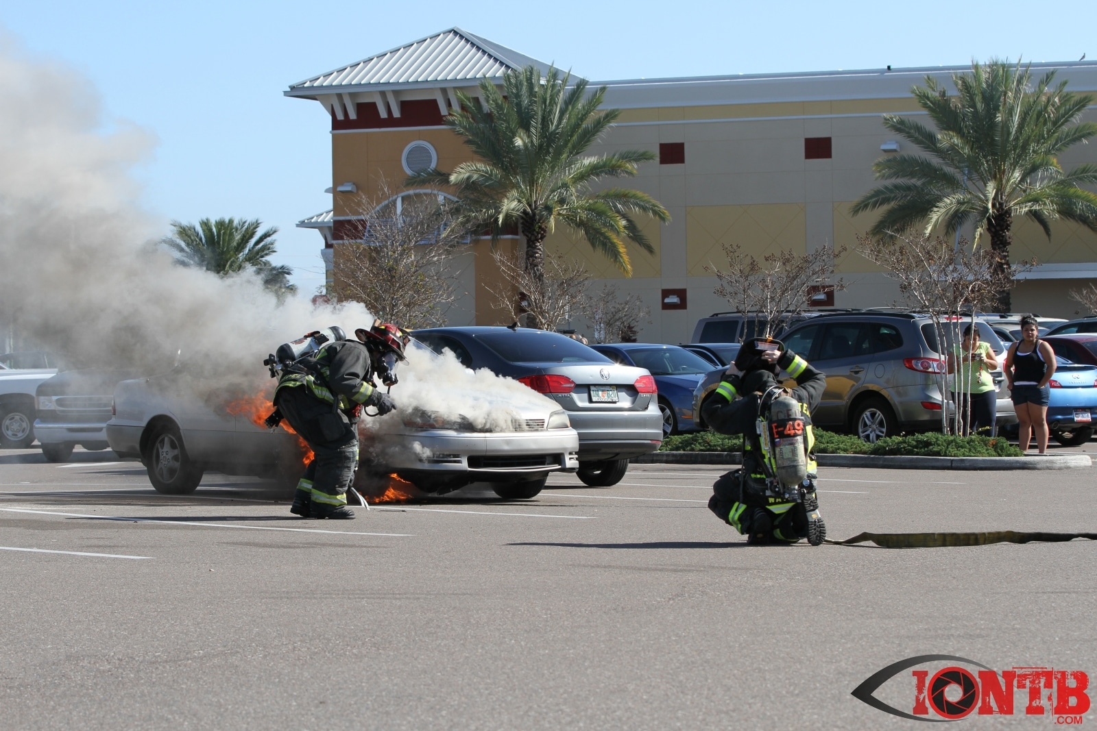 Fully involved vehicle fire in parking lot of Clearwater Publix
