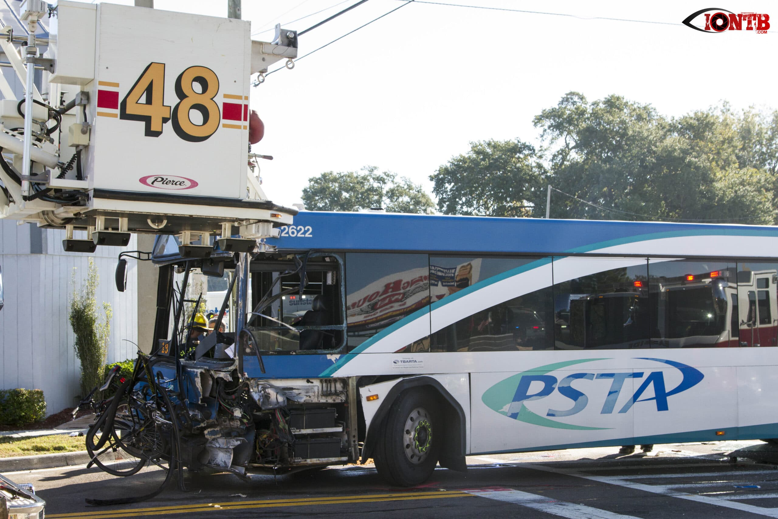 PSTA Bus and Dump Truck Collide on Gulf to Bay Blvd