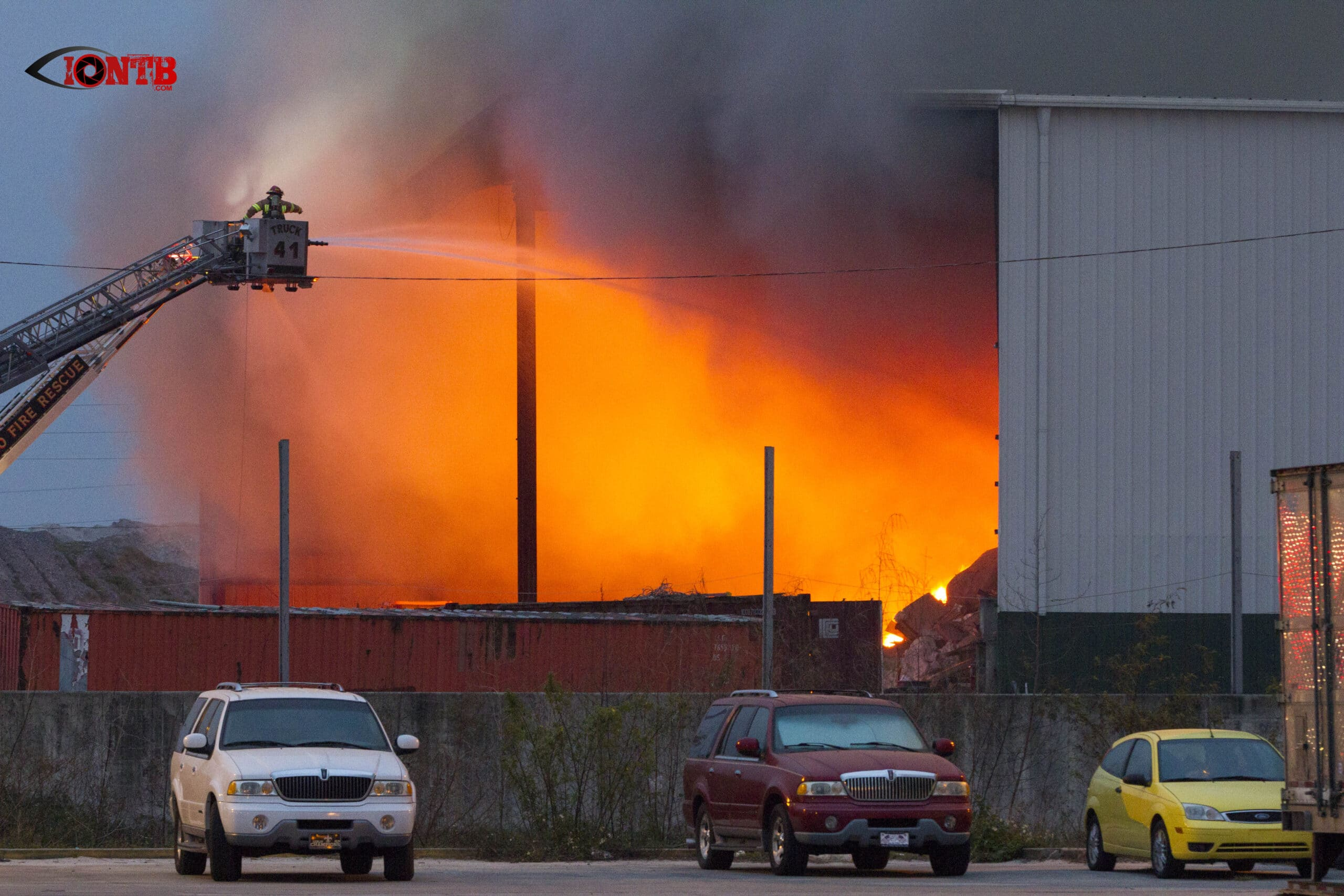 Warehouse Fire At Angelo's Recycled Materials