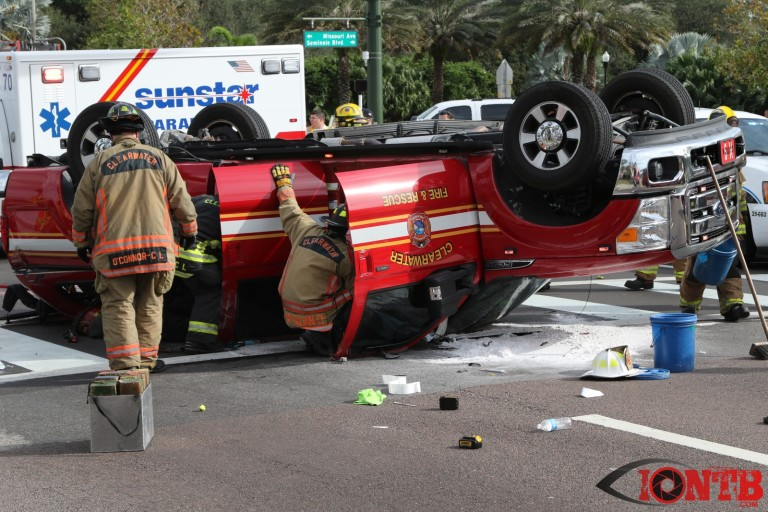 Extrication Crash Involving a Clearwater Fire & Rescue Vehicle
