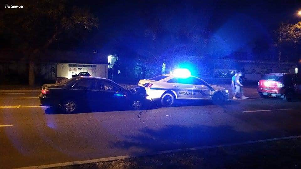 Vehicle strikes back of cruiser in the 3100 block of Central Avenue Tuesday evening.