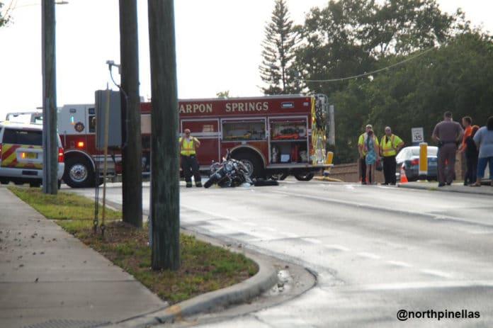 Tarpon Springs Fire Rescue on-scene of motorcycle crash on Alderman Road in Palm Harbor