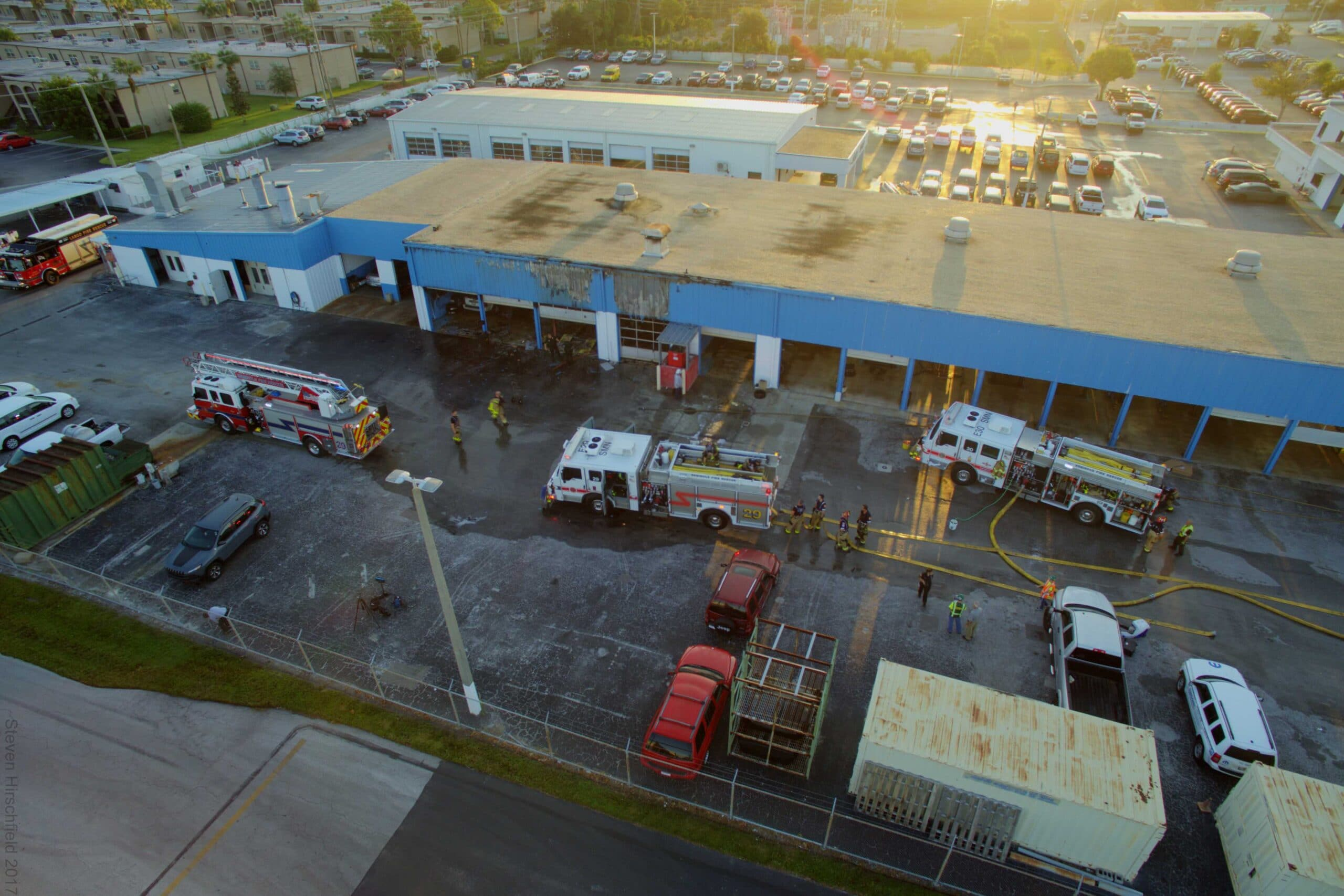 Firefighters Battle 2 Alarm Structure Fire at the Suncoast Chrysler
