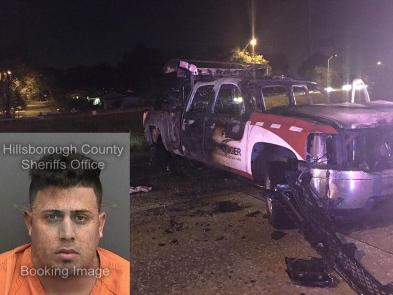 DUI Driver Strikes Road Ranger's Truck Causing Both Vehicles to Erupt in Flames Early Saturday Morning in Hillsborough
