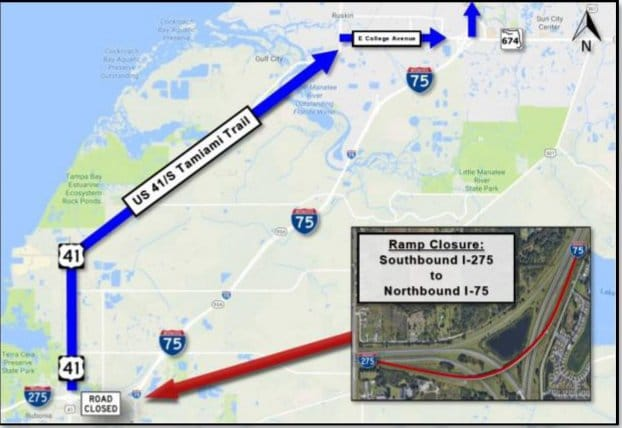 Construction Will Soon Close I-275 Southbound to I-75 Northbound Bridge Deck in Manatee County For 10 Months