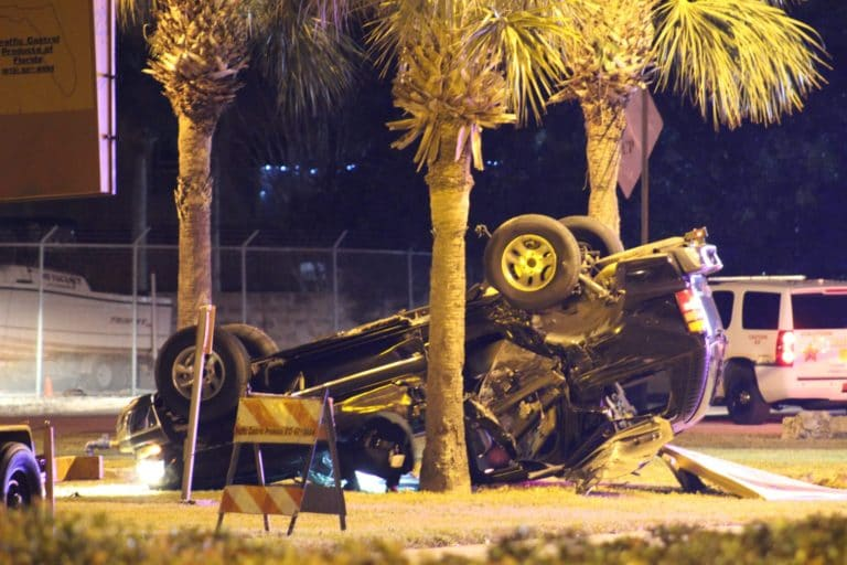 Subjects Flee From Overturned Vehicle Friday Night in Madeira Beach