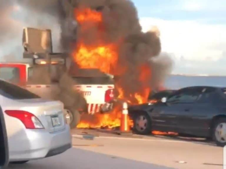 Vehicle Crash and Fire Involving a Road Ranger on the Howard Frankland Bridge Sunday Afternoon