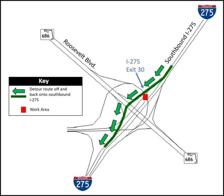 Overnight closure planned on I-275 Monday and Tuesday nights in Pinellas