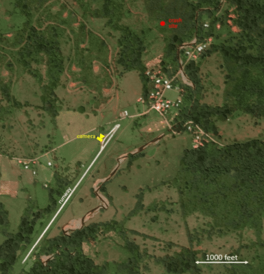 Photo showing path of aircraft prior to crash in Costa Rica