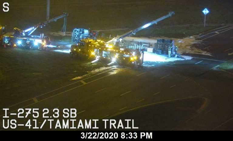 Cleanup continues after crash involving a fuel tanker on US-41/I-275 in Manatee County