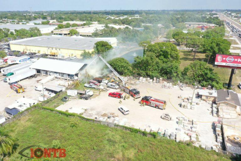Largo fire crews battle two alarm fire outside warehouse