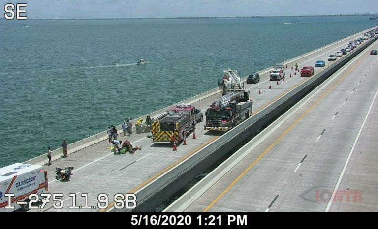 Two seriously injured following rear tire blowout on motorcycle while traveling on the Skyway Bridge
