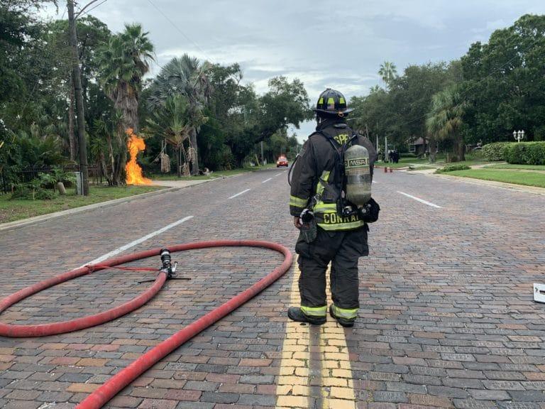 Gas leak leads to fire along Park Street in St. Petersburg