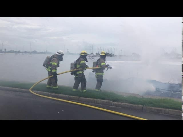 Tampa Fire Rescue responds to boat fire off Davis Island