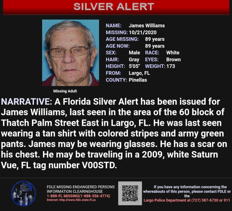 CANCEL: Silver alert issued for 89 year-old Largo Man