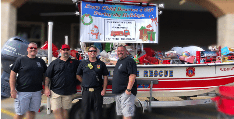 "Stop by Walmart on Saturday to help Seminole Firefighters Local 2896 ""Fill the Boat"" collecting toys for children"