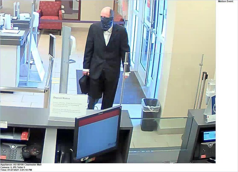 Clearwater police looking for subject responsible for the bank robbery at the Wells Fargo on Gulf to Bay Boulevard
