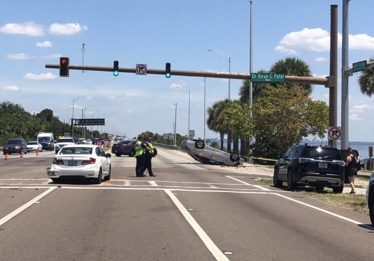 Two injured in rollover crash on the Courtney Campbell Causeway
