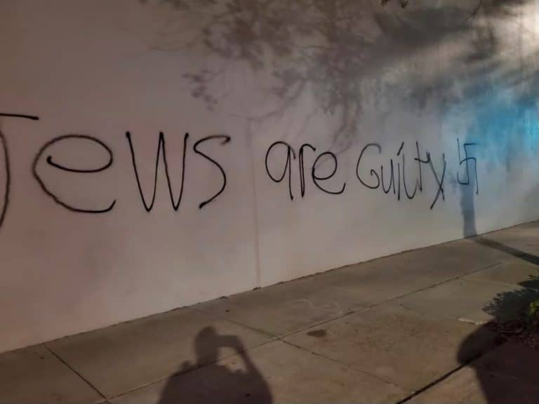 Antisemitic graffiti found on the 1st Avenue South side of the Holocaust Museum in St. Petersburg