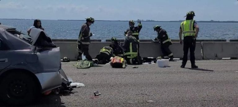 Troopers report three people seriously injured in crash on Howard Frankland Bridge including a young unrestrained child
