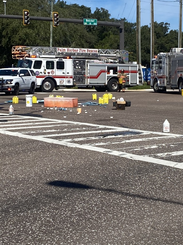 Vehicle crash creates hazmat incident in Palm Harbor closing the roadway for several hours